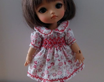 Handmade embroidered dress made by the talented Buvilla for Pukifee Lati Yellow Mui Chan Middie Blythe Person Secretdoll