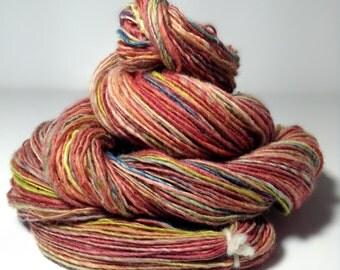 Handspun Merino Yarn, Handspun Wool Yarn - Giddy - Single Ply Light Fingering Weight Yarn
