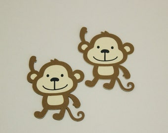 Monkey Diecut, Set of 6, Happy Monkey, Jungle Party