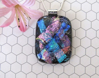 Sparkling Pink and Blue Dichroic Glass Pendant, Fused Glass Jewelry, Dichroic Necklace, 73-13