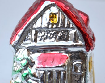 Vintage Christmas Ornament Glass House Red Roof West Germany