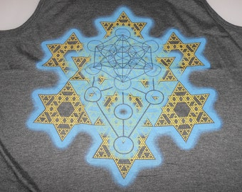 Men's Tank Top - Merkaba Fractal (Blue/Yellow on Gray)