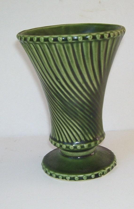 Vintage Swirl Green Mccoy Vase Swirl Pattern Mccoy Vase