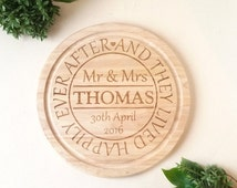 Personalised Wedding Gift - Custom Chopping board - And they lived Happily ever after -  Mr & Mrs with the name and date of the happy couple
