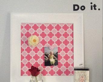 Pink corkboard magnetboard Shabby Chic pinboard quatrefoil pinks girls room home decor (Item Number BL39)