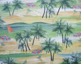 Paradise Delights Beach Chairs Umbrella Palm Trees Quilting Treasures Fabric Yd