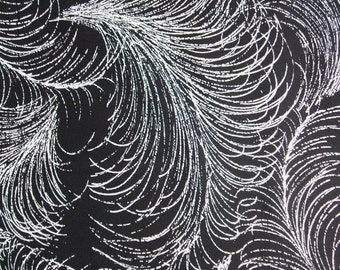 Fancy Feather Black White Plume Michael Miller Cotton Fabric Yard