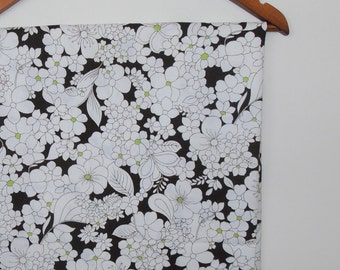 flowers in lime and brown...vintage cotton fabric