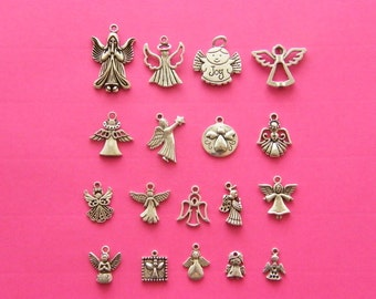 The Ultimate Angel Collection - 18 different antique silver tone charms