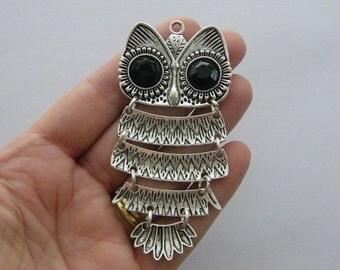 1 Owl pendant antique silver tone O80