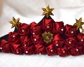 Flower tiara, Headpiece, Headdress, Medieval Tiara, Pearl and Red, Victorian, bridal headband, Renaissance tiara crown , Medieval crown