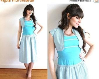 ON SALE 40s Dress / 1940s Blue Gingham Dress and Bolero