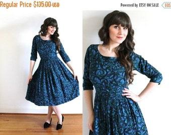 ON SALE 50s Dress / 1950s Dress / 50s Blue Floral Full Skirt Dress