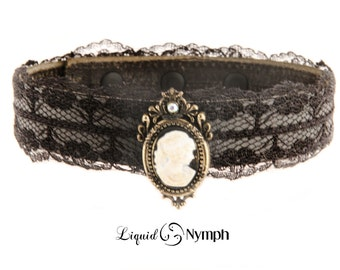 BDSM Collar Discreet Slim Cameo Kitty Collar - Black Leather and Lace Gothic & DDLG Kitten Play Day BDSM Collar - Submissive Fetish jewelry