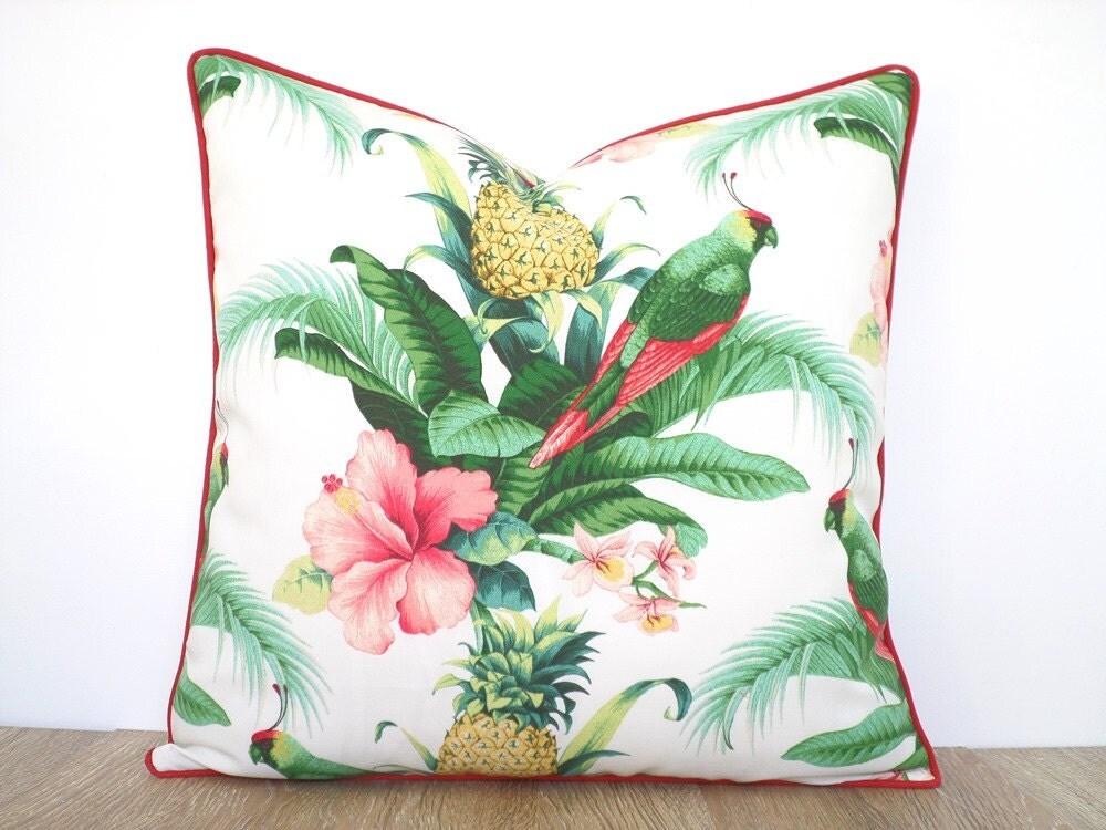 Tropical Outdoor Pillow Case 20x20 Caribbean Decor Pineapple