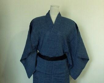 Vintage Men's summer casual KIMONO YUKATA blue size XS boys