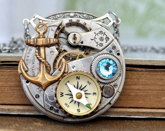 steampunk jewelry TIME To SET SAILS vintage Waltham pocket watch movement necklace with military style working compass charm and anchor