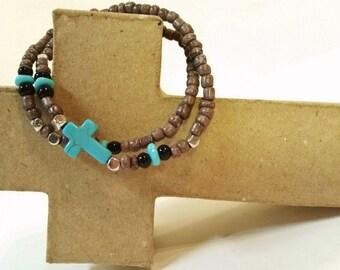 Cowgirl western turquoise cross bracelet brown stretch beaded w/ cross box