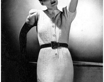 Knitting Pattern Vintage pattern - Ladies Knit Dress IMMEDIATE DOWNLOAD
