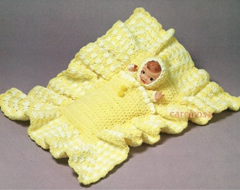 Vintage Crochet Pattern - Baby doll in cuddle sack baby nest PDF instant download