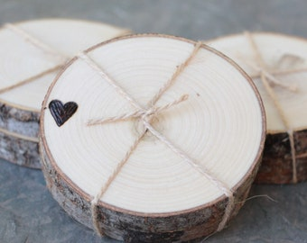 Rustic Chic Wedding Favors Woodland Coasters Hearts