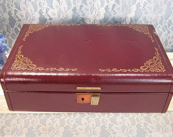 Farrington Vintage Jewelry Box, Maroon Gold Pattern, Mid Century, Maroon Velvet Interior, Dresser Accessory, Jewelry Storage, Genuine Texol
