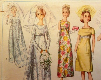 1960s Wedding dress pattern, bridesmaid sleeveless dress, retro evening gown, vintage sewing pattern Simplicity 6352 misses size 12 bust 32