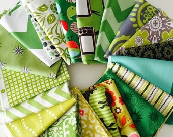 SuperBowl Sale Assortment Fat Quarter bundle in Green colorway, 20 total