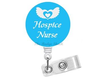 "Hospice Nurse  1.5"" - Retractable Badge Reel - Name Badge Holder - Hospice Nurse Badge - Hospice Badge Reel - Badge Holders - RN Gift"