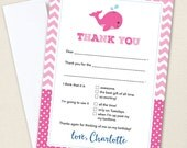 Pink Whale Party Thank You Cards - Professionally printed *or* DIY printable