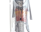 Festival shredded tunic top, Bohemian Indian Eagle top, Boho festie clothes, Music festival trends 2016, Gray cut shirt, True rebel clothing