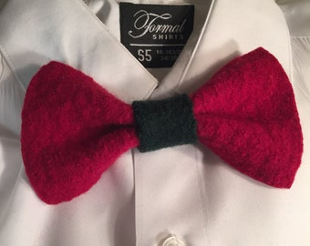 Upcycled red wool bow tie