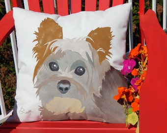 Dog pillow pet rescue benefit Yorkshire terrier UNCUT VERSION outdoor Yorkie dog 20 inch canine fundraiser shelter Crabby Chris Original