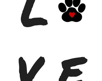 Love with Paw Prints ARt Print