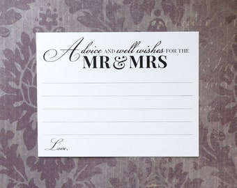 Advice and Well Wishes for the Mr and Mrs - Wedding Advice Cards - Reception or Bridal Shower - Elegant Calligraphy Script - 4.25 x 5.5 inch