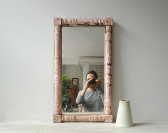 Vintage Pink Wood Mirror, Shabby Chic Mirror