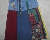 Skirt lady's  denim and patchwork wearable art skirt YO-YO button ragged appliques boho