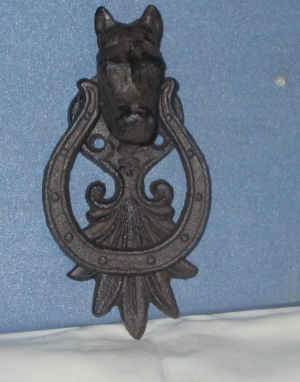 Door knocker horse and horseshoe antiqued rusty or pick your - Horse door knocker ...