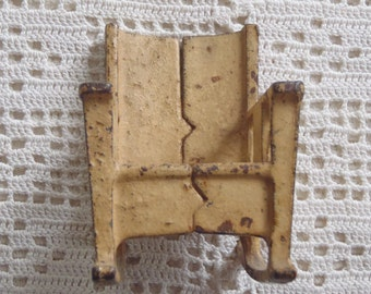 Vintage Miniature Toy Rocking Chair Cast Iron Yellow Painted Finish