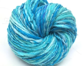 Handspun sparkly yarn, 100 yards, 1.75 ounces and 50 grams, worsted weight