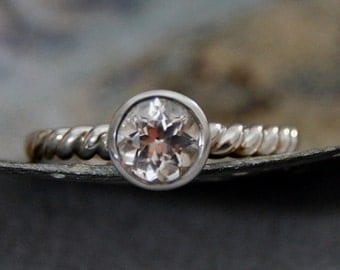Kira - Diamond Alternative, brilliant 6mm Morganite gemstone engagement ring, promise ring, wedding ring, gift idea, bridal jewelry, silver