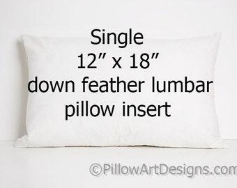 Down Feather Insert 12 X 18 Inch Lumbar Pillow