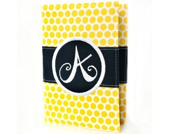 Yellow Dots Journal - You select, fabric, frame, and font - Personalized journal - Monogrammed gift - Teacher Gift - Personalized sketchbook