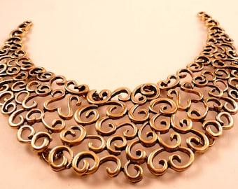 Collar Pendant Antique Gold Pendant Gold Swirls Pendant Metal Pendant Collar Bead Gold Bead Gold Pendant Focal Bead