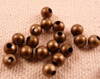 Brass Beads 4mm Beads 50 Metal Beads Brass Findings Round Beads Bronze Beads 4mm Beads