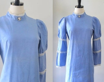 1970s Dress Hippie Clothes Blue Mini Dress Victorian Inspired Steampunk Dress High High Neck Dress 70s Mini Bohemian Clothing Medium Large
