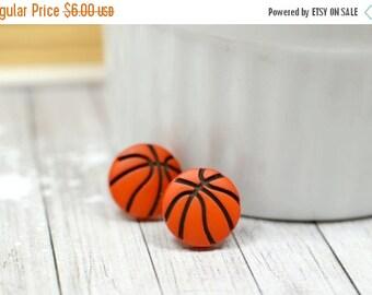 SALE Basketball Earrings / Orange and Black Basketball Jewelry / Sports Themed Stud Earrings, Ball Earrings, Basketball Wives Earrings