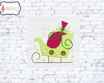 Sleigh machine embroidery design. Festive christmas embroidery design in two sizes! Whimsical sleigh embroidery for Christmas.