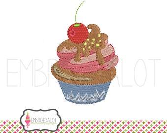 Cupcake embroidery design. Yummy cupcake machine embroidery. Cute embroidery download, instant download.
