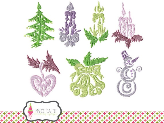 Christmas machine embroidery design set swirly